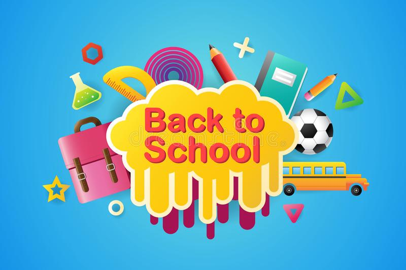 Back to school sale banner, poster, 3D design colorful, vector. Illustration vector illustration