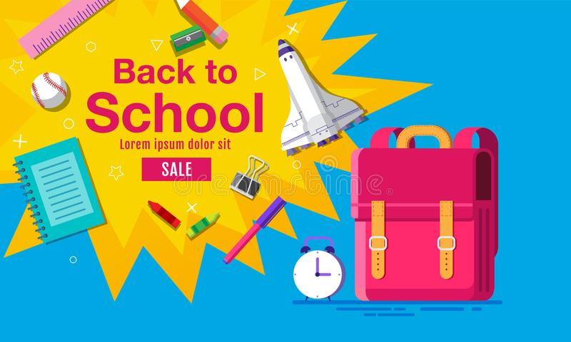 Back to school sale banner, poster, flat design colorful, vector royalty free illustration