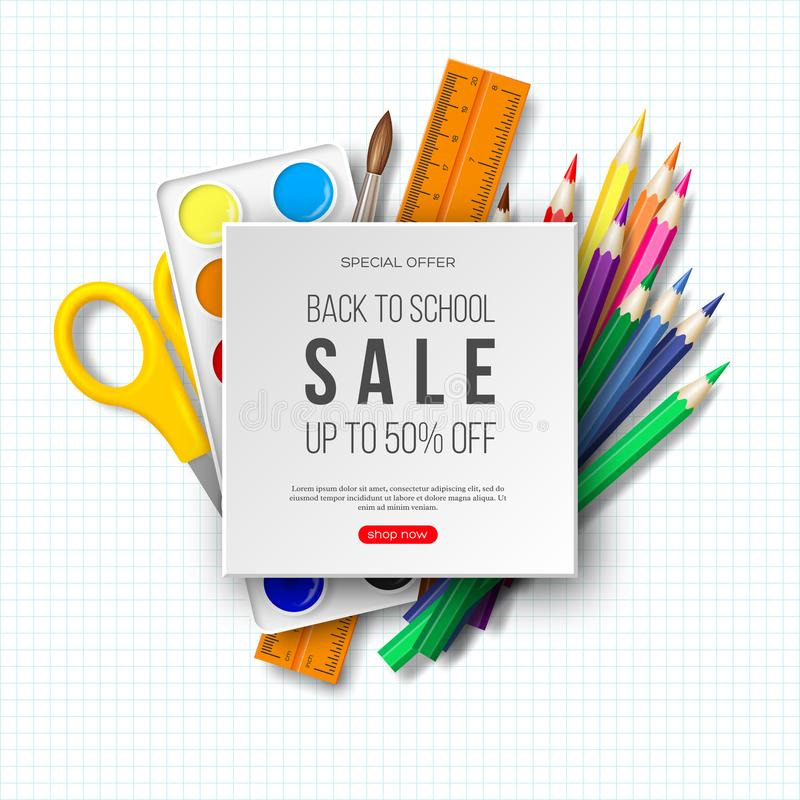 Back to school sale banner with realistic school supplies. White background, vector illustration. vector illustration