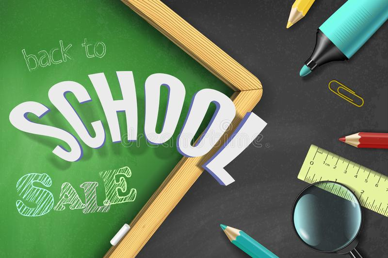 Back to school sale top view vector banner template and color drawn text, school supplies on black chalkboard background royalty free illustration