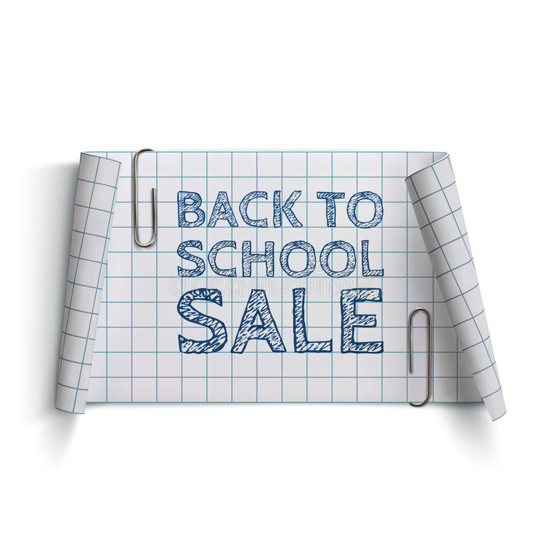 Free Back To School Sale, Curved Paper Banner Stock Photos - 56729163