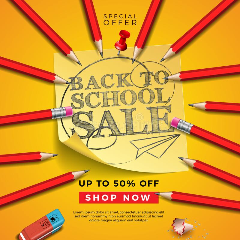 Back to School Sale Design with Graphite Pencil, Eraser and Sticky Notes on Yellow Background. Vector Illustration with royalty free illustration