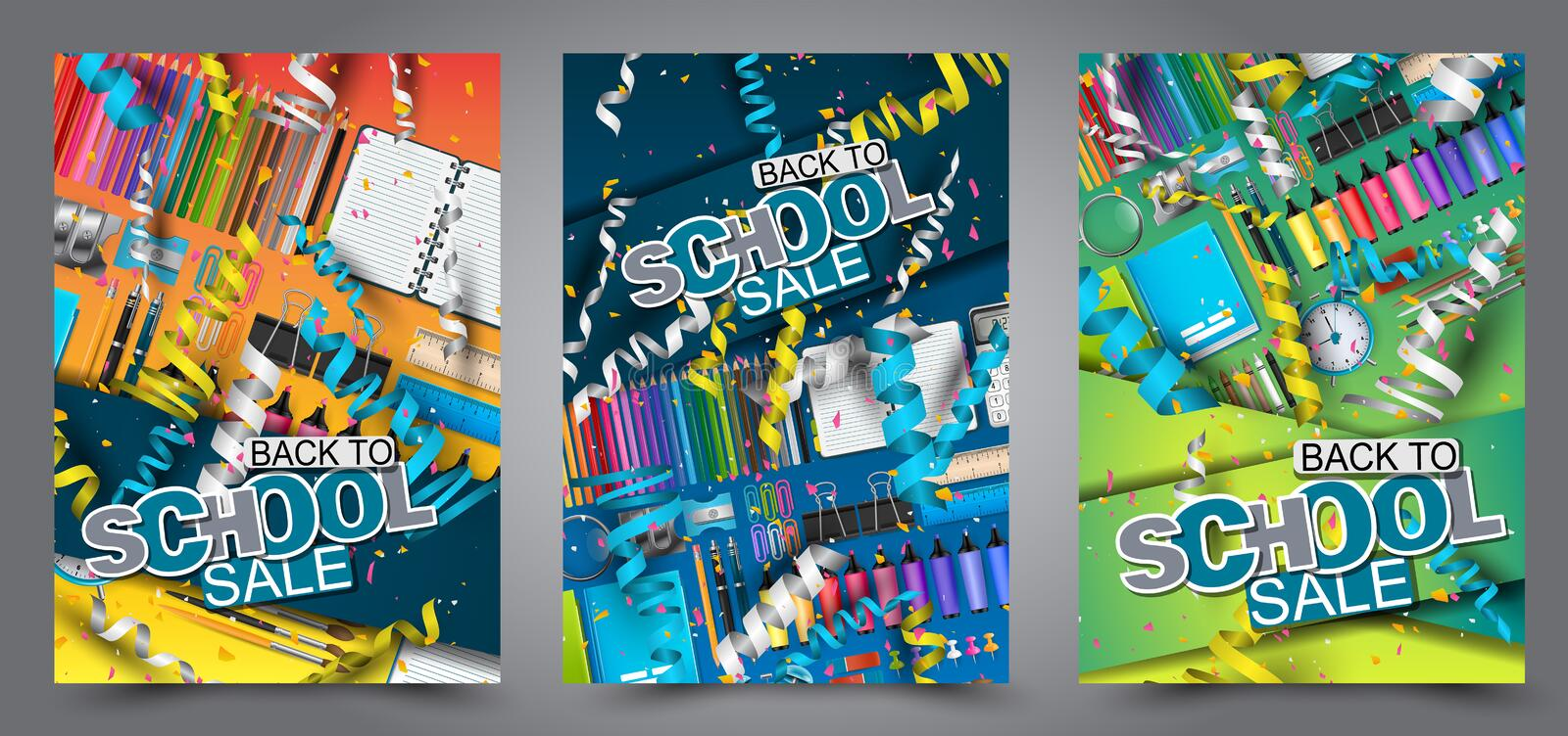 Back to school sale flyer brochure. a4 background with confetti and falling ringlets celebration concept. stock illustration