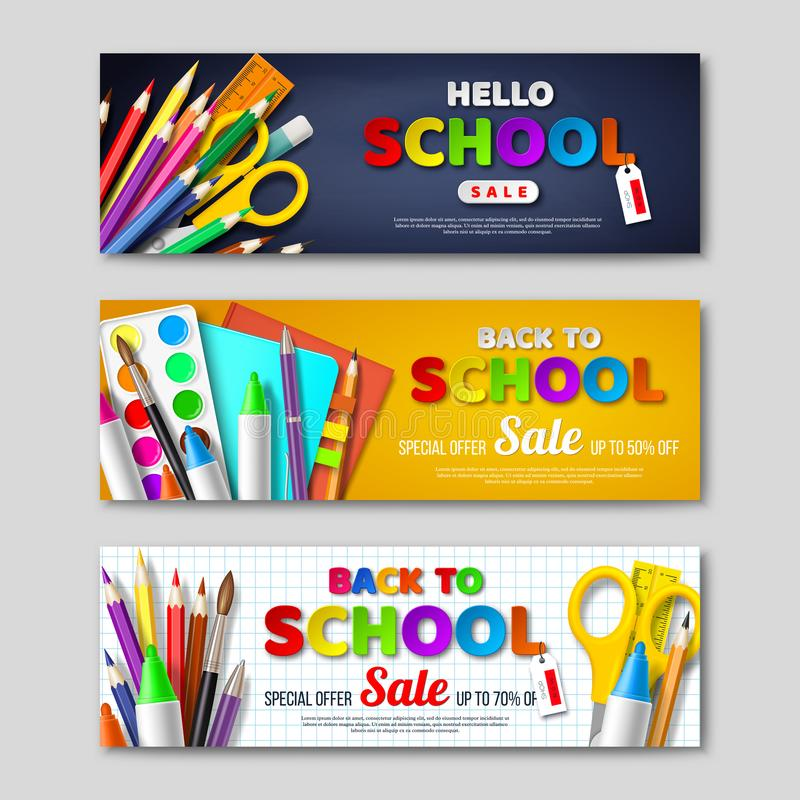 Back to school sale horizontal banners with 3d realistic school supplies and paper cut style letters. royalty free illustration