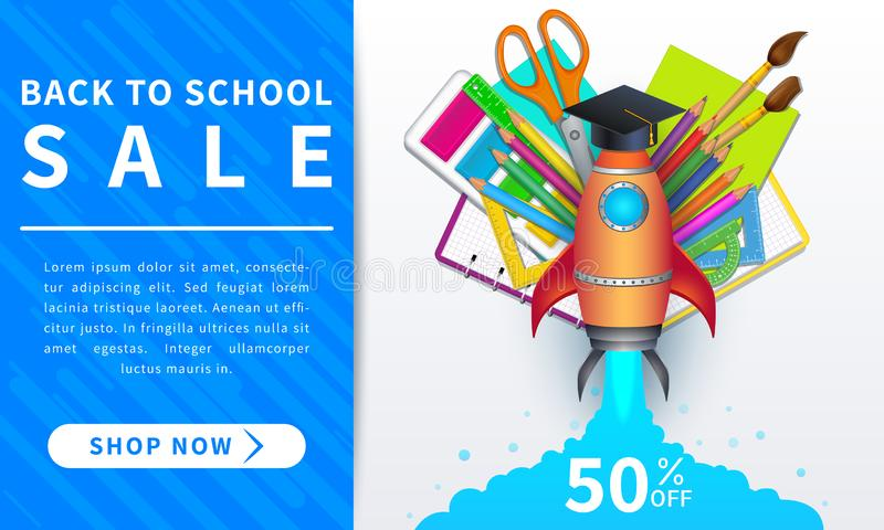 Back to school sale, horizontal discount web banner with 50 percent off, colorful realistic supplies and shop now button. Template royalty free illustration