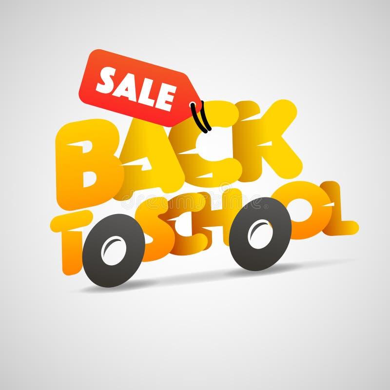 Back to school sale logo, schoolbus royalty free illustration