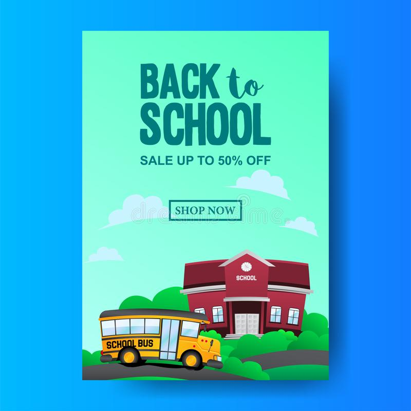 Set Back To School Sale Offer Banner Template With Yellow