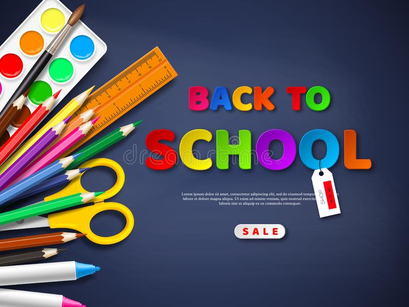 Back to school sale poster. With realistic school supplies. Paper cut style letters on blackboard background. Vector illustration royalty free stock photo