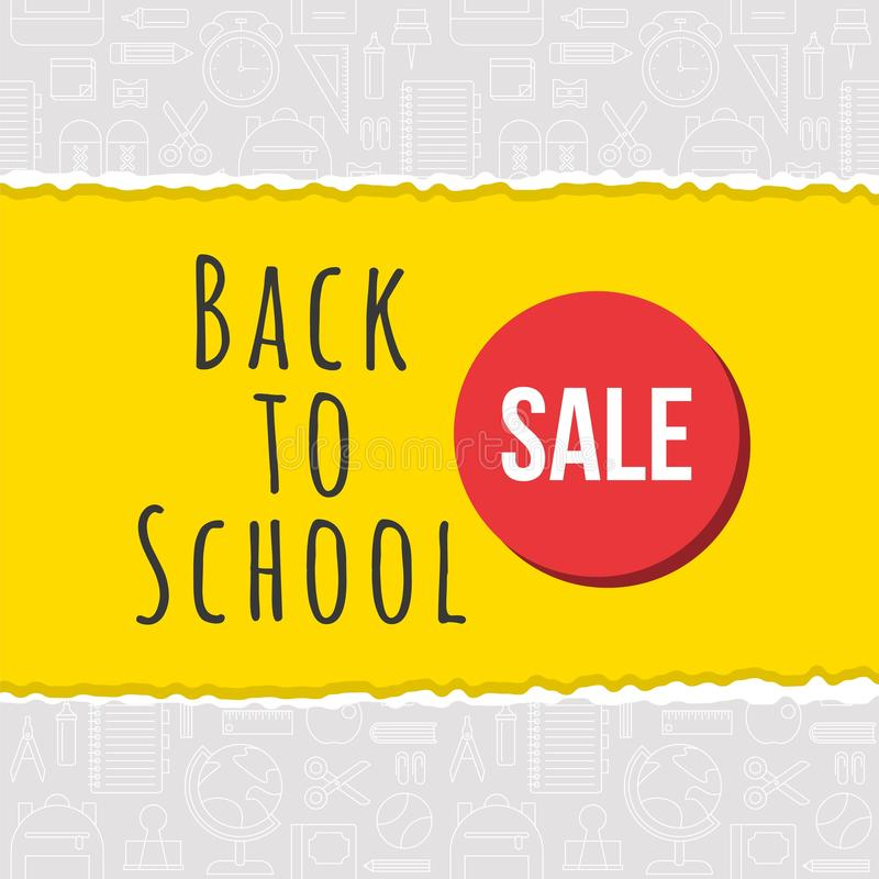 Back to school sale poster on school supplies outline background stock illustration