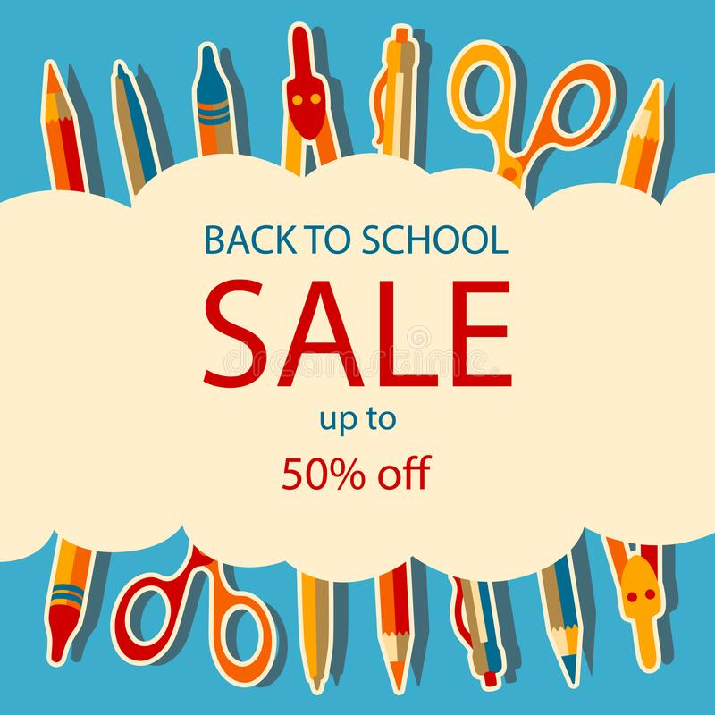 Back to school sale poster with school supplies stock illustration
