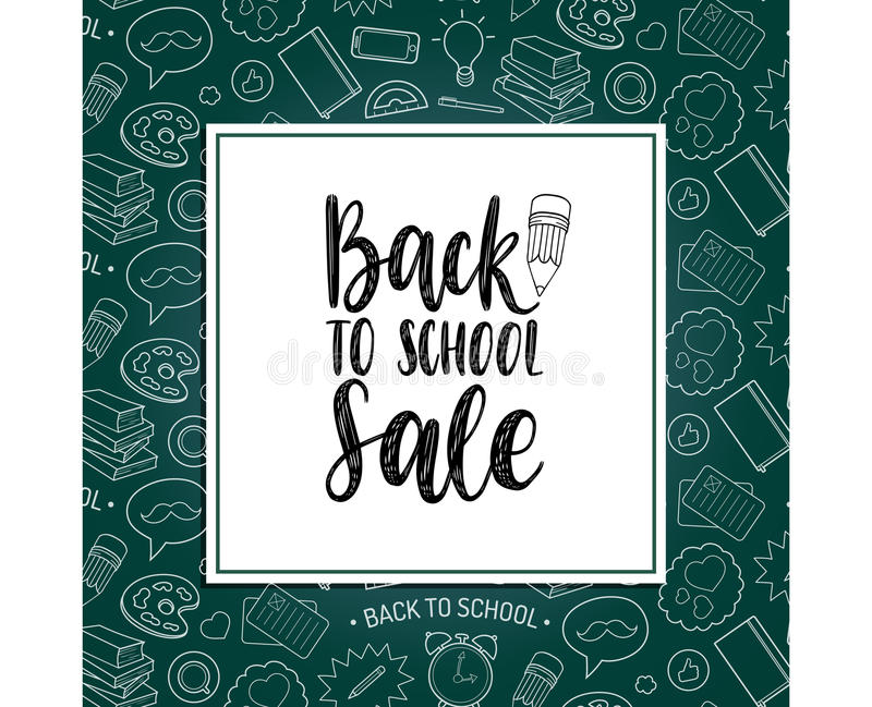 Back To School Sale poster. Vector hand lettering in frame. Children education background. Knowledge day design concept stock illustration