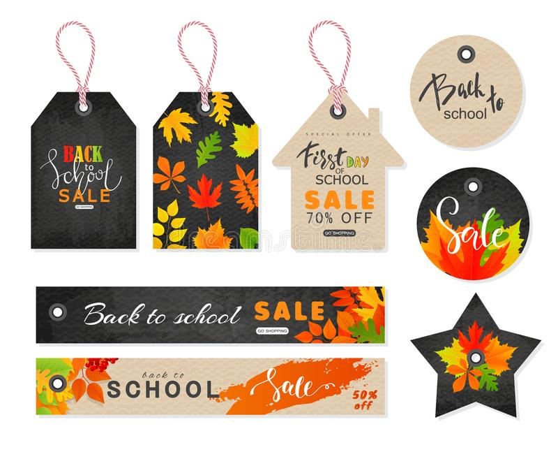 Back to school Sale. Tags set with autumn leaves. Vector illustration vector illustration