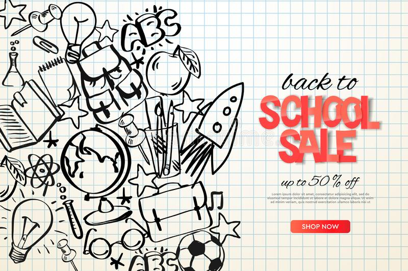 Back to school sale template. School doodle on checkered paper background, vector illustration. royalty free illustration