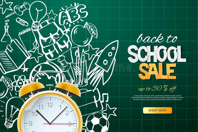 Back to school sale template. Realistic red alarm clock on doodle school background, vector illustration. stock illustration