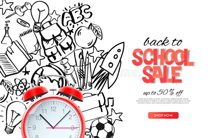 Back to school sale template. Realistic red alarm clock on outline doodle school background, vector illustration. royalty free illustration