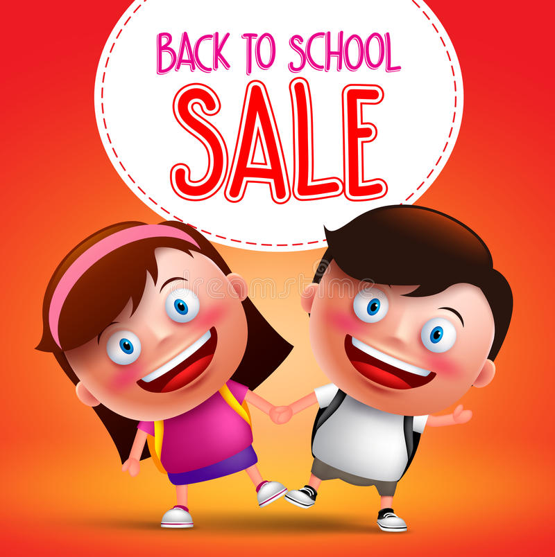 Back to school sale text with kids students vector character. Happy holding hands while walking with backpack going to school. Vector illustration stock illustration