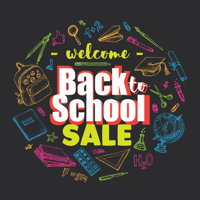 Back to school sale vector background with colorful doodle school accessories and supplies elements around the text. Hand drawn illustration isolated on black royalty free illustration