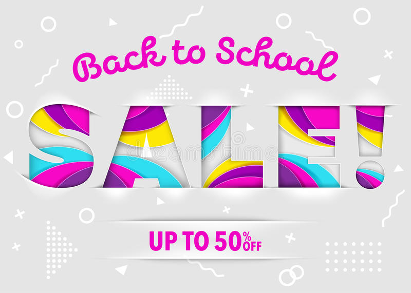 Back to School Sale Vector Banner on Background. vector illustration
