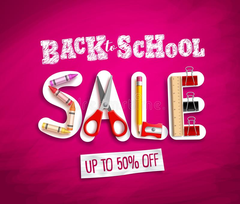 Back to school sale vector banner design with sale discount text and colorful school supplies vector illustration