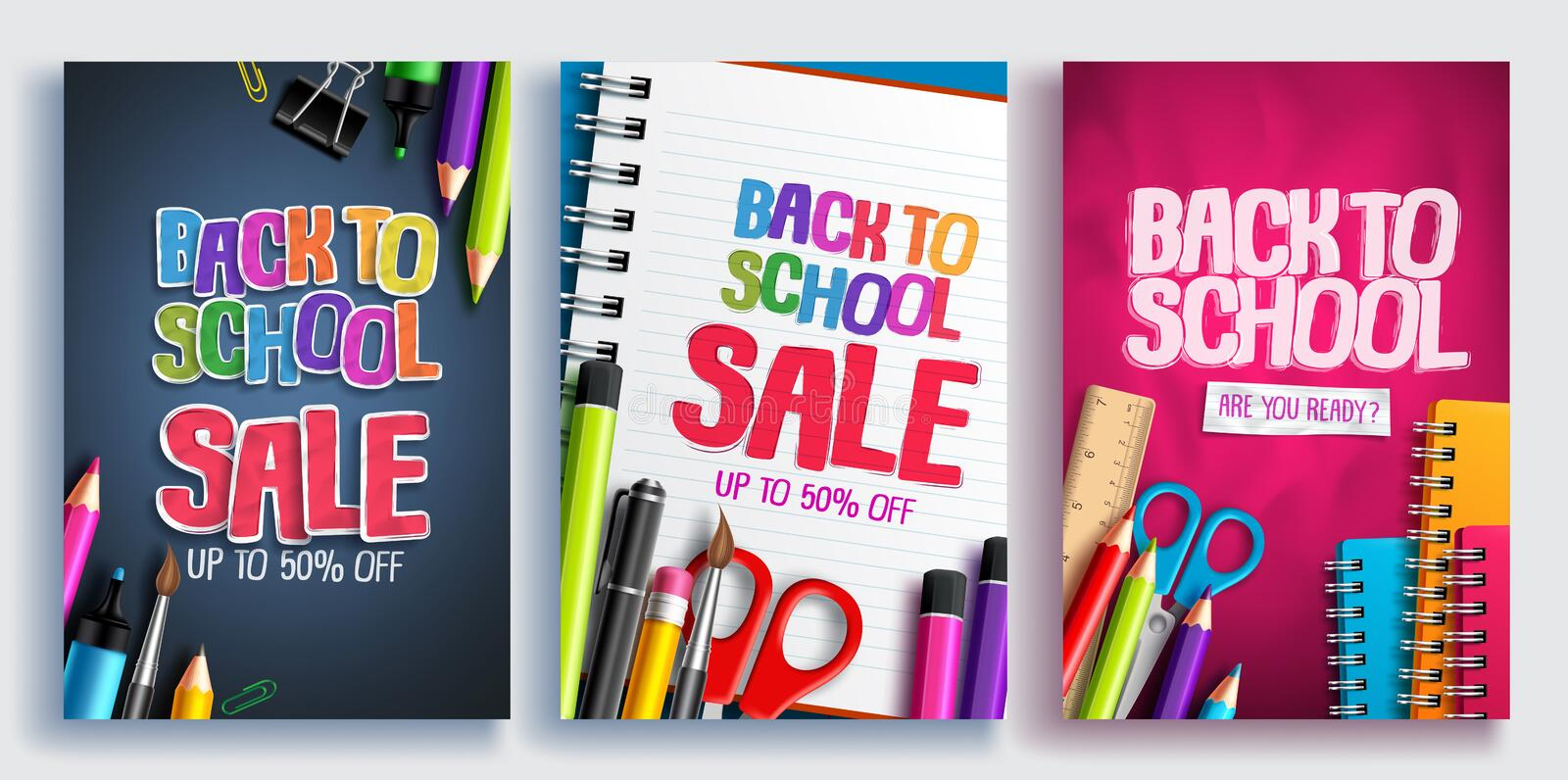 Back to school sale vector poster design set with colorful school supplies, educational items stock illustration
