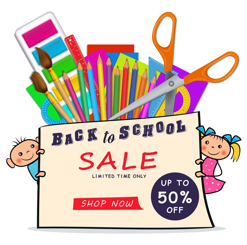 Back to school sale web banner with set realistic supplies and doodle boy and girl children isolated on white background royalty free illustration
