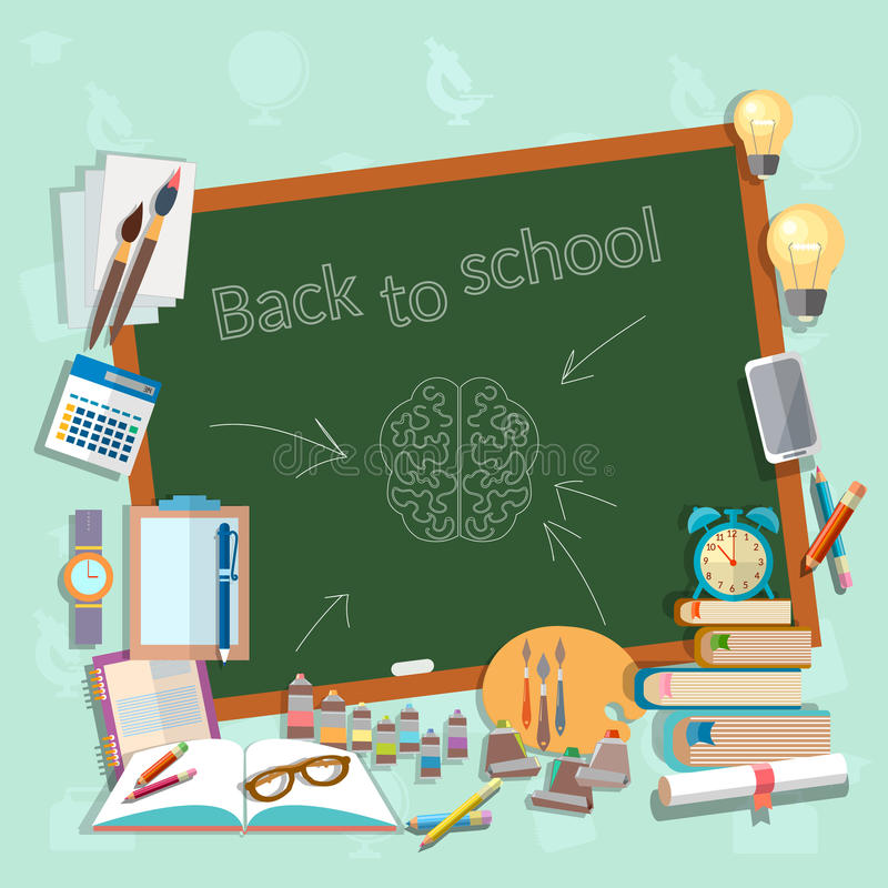 Back to school school board education college campus classroom. Lessons think draw write learn vector illustration stock illustration