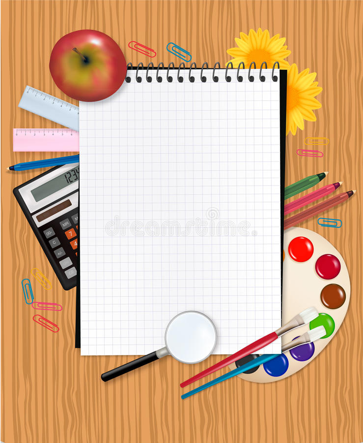 Back to school. School notebook with supplies royalty free illustration