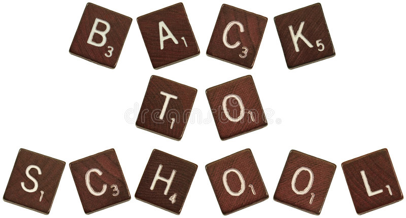 Back to School scrabble letters stock photos