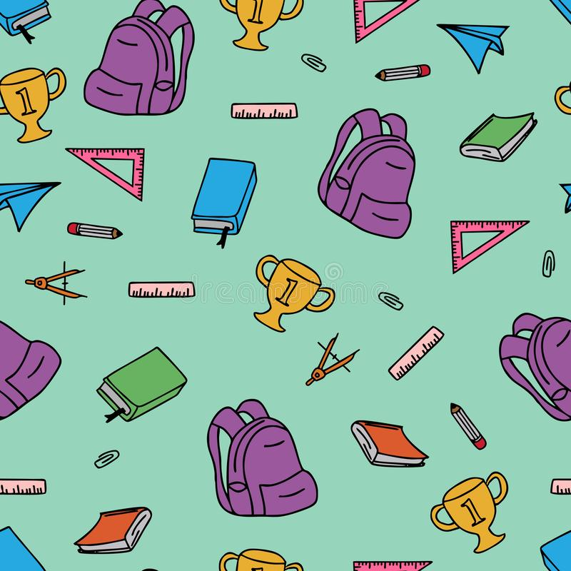Back to school seamless pattern colorful doodle vector illustration. Pencil book apple supplies fabric brush notebook symbol design education fun texture royalty free illustration