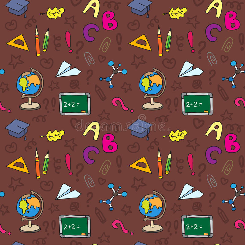 Back to school seamless pattern. Endless texture can be used for printing onto fabric, paper or scrap booking, wallpaper, pattern fills, web page background vector illustration