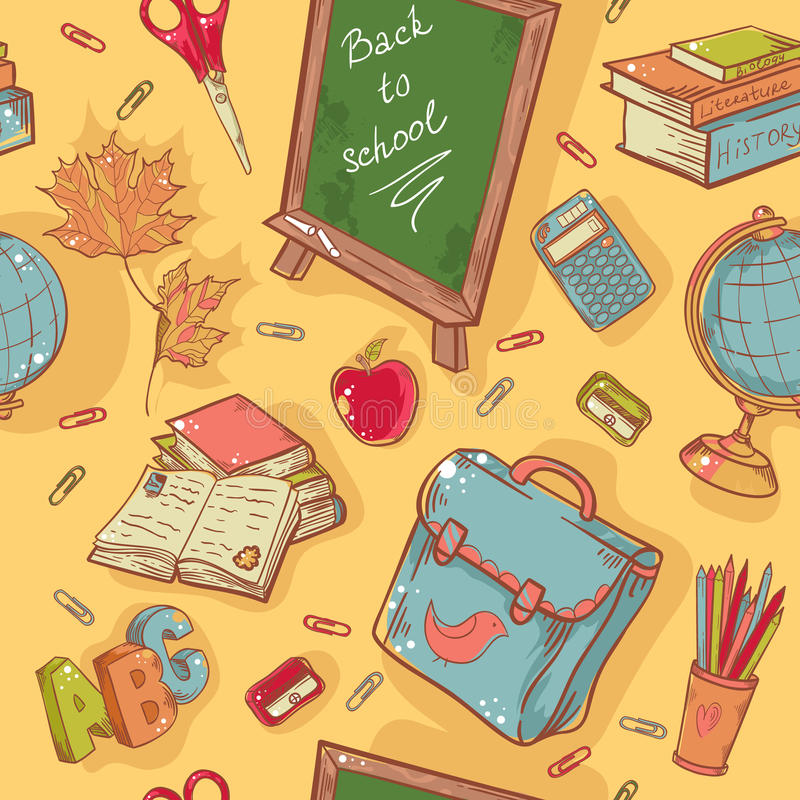 Download Back To School Seamless Pattern With Various Study Stock Illustration - Image: 32431193