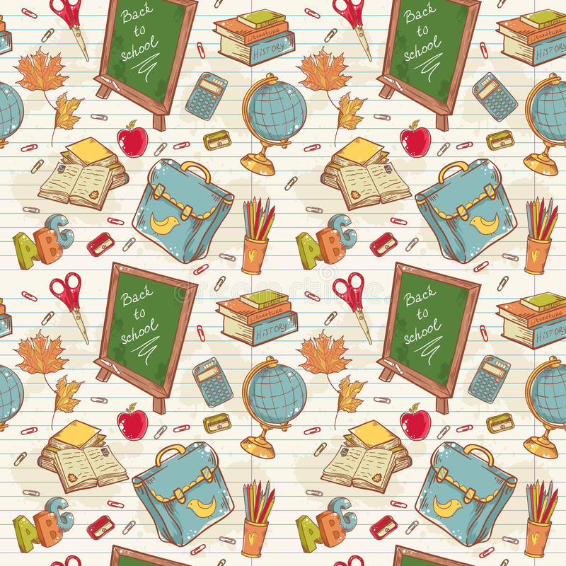 Back to school seamless pattern with various study