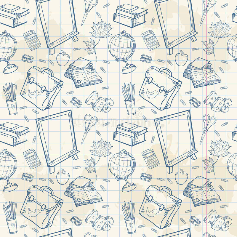 Download Back To School Seamless Pattern With Various Study Stock Illustration - Image: 32431203