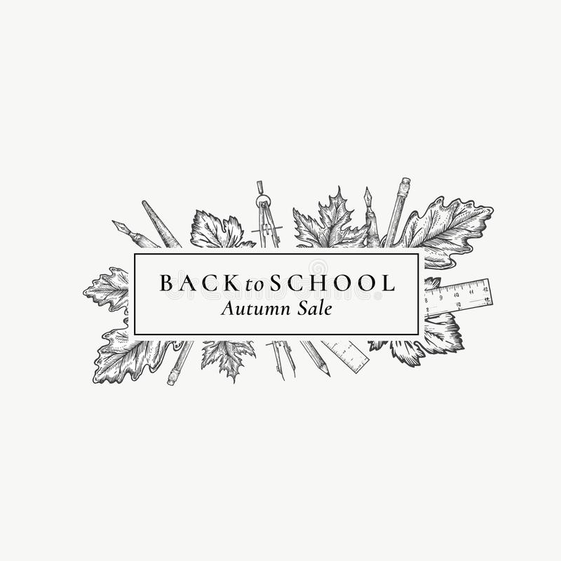 Back to School Season Sale. Abstract Vector Retro Label, Sign or Card Template. Hand Drawn Stationary and Autumn Leafs. Sketch Illustration with Vintage royalty free illustration
