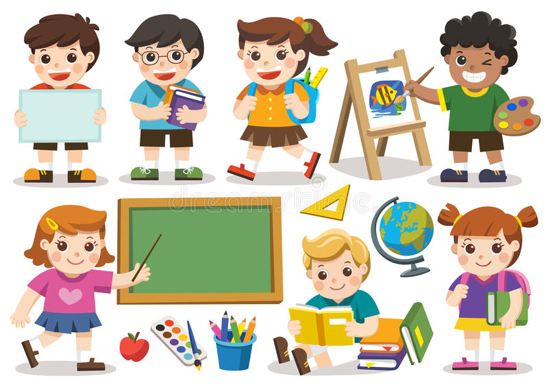 Back to school. Set of adorable student study in school. Isolate royalty free illustration