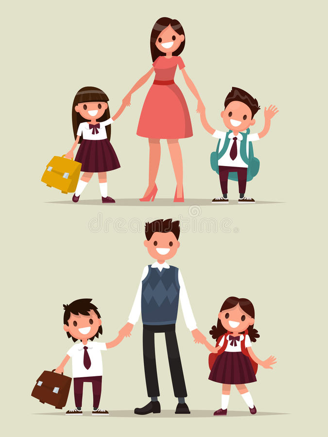Back to school. Set of characters. Parents with their children s stock illustration
