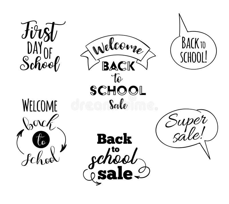 Back to school, set icons. Handwritten lettering. Label vector illustration stock illustration