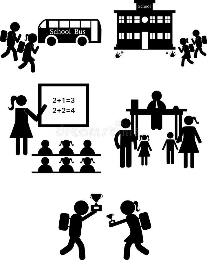 Download Back To School Set Of Icons On A White Background Stock Photo - Illustration of educate, classroom: 115241644