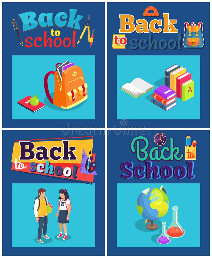 Back to School Set of Posters with Various Objects stock illustration