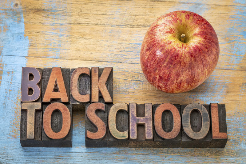 Back to school sign in wood type royalty free stock photography