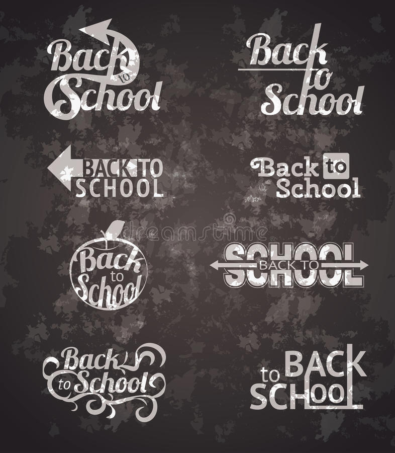 Back to school signs. Set of back to school vector typography calligraphic designs royalty free illustration