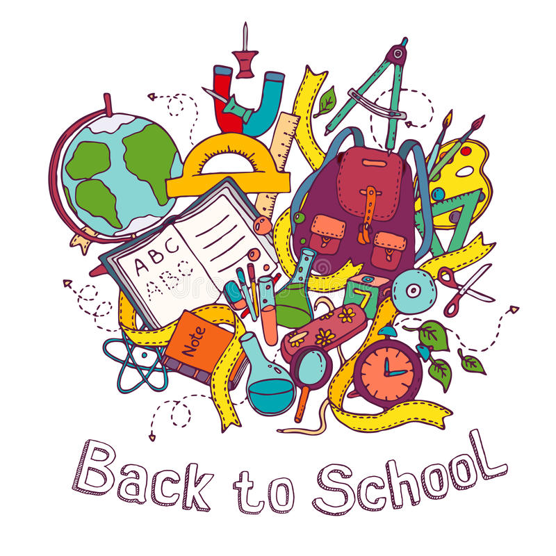 Back to school - Sketch colored illustration of education objects stock illustration
