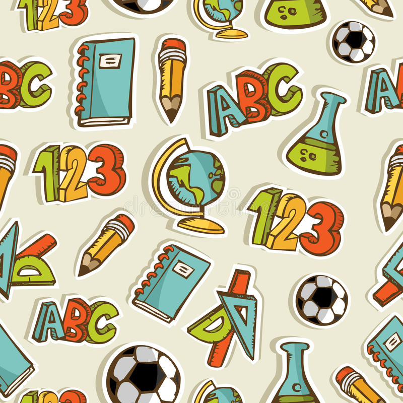 Back to School sketch icon set pattern stock illustration