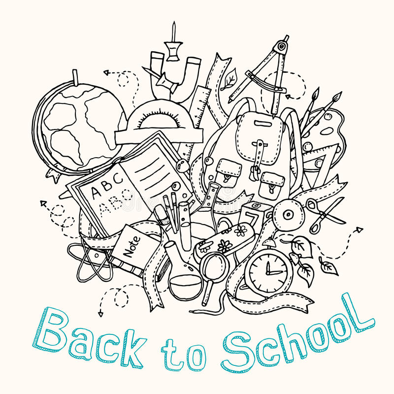 Back to school - Sketch illustration of education objects. Doodles elements, hand drawn. Vector EPS10 royalty free illustration