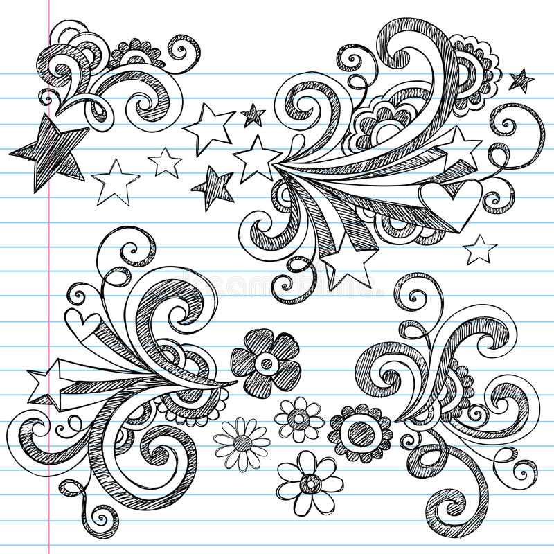 Back To School Sketchy Doodles Vector Set Royalty Free Stock Images
