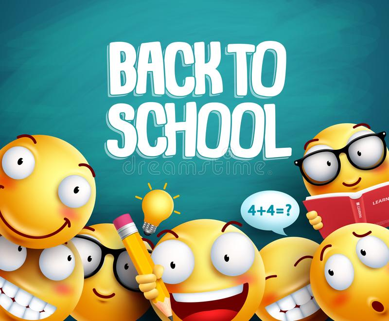 Back to school smileys vector design. Yellow student emoticons royalty free illustration