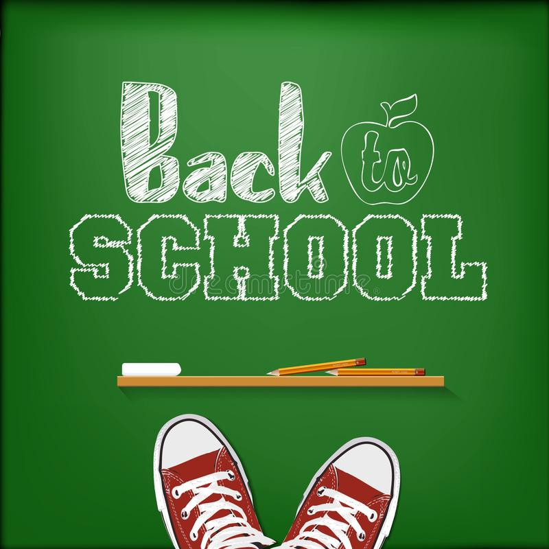 Welcome back to school on chalkboard stock illustration