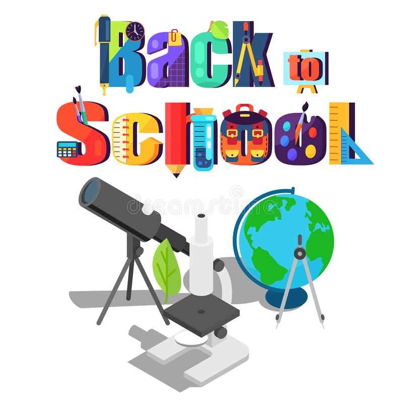 Back to School Sticker with Scientific Objects stock illustration