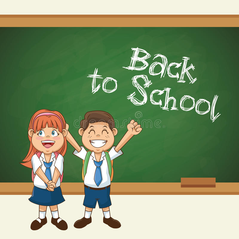 Back to school student smiling happy with uniform chalkboard royalty free illustration