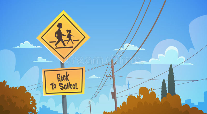 Back To School Study Road Sign Over Blue Sky vector illustration